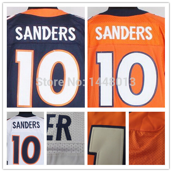 Emmanuel Sanders Elite Jersey men Authentic Broncos #10 American Football Jerseys Blue orange 100% Stitched Big Size 60 S-XXXL(China (Mainland))