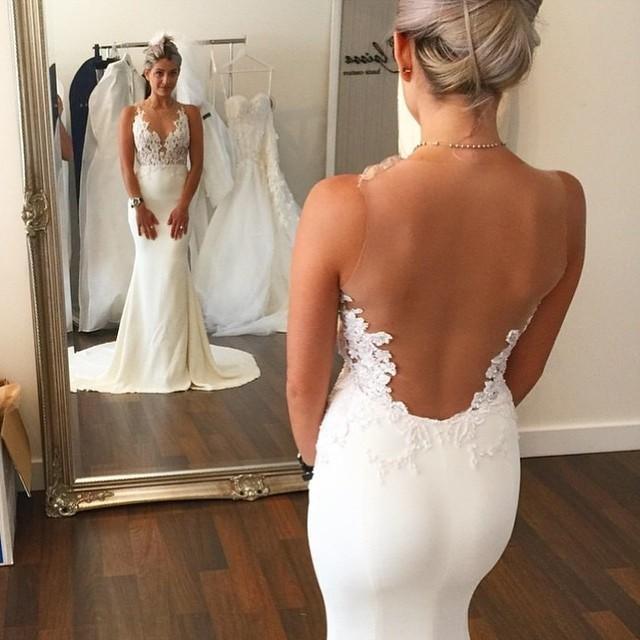 Русалка свадебное платье с кружевными аппликациями джевел-шее майка без рукавов ножницы ...