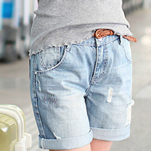 2016 Fashion New Destroyed Jeans Shorts Women blue Denim hot Shorts for Woman Spring Summer short pants h460