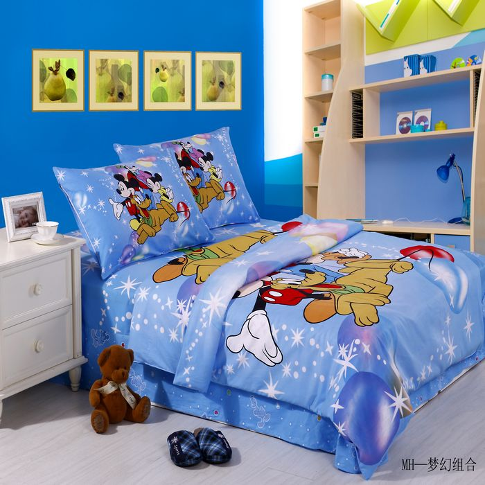 Mickey Minnie cartoon Duvet Cover Bedsheet star dreamlike Bedding blue bed in a Bag comforter set kids Pillow cover 3/4/5pcs(China (Mainland))