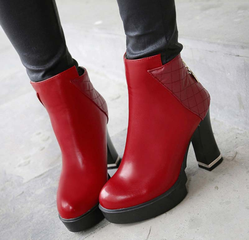 Motorcycle boots black white gold silver red women boots Round Toe Square heel High boots new Zip PU Ankle boots shoes<br><br>Aliexpress
