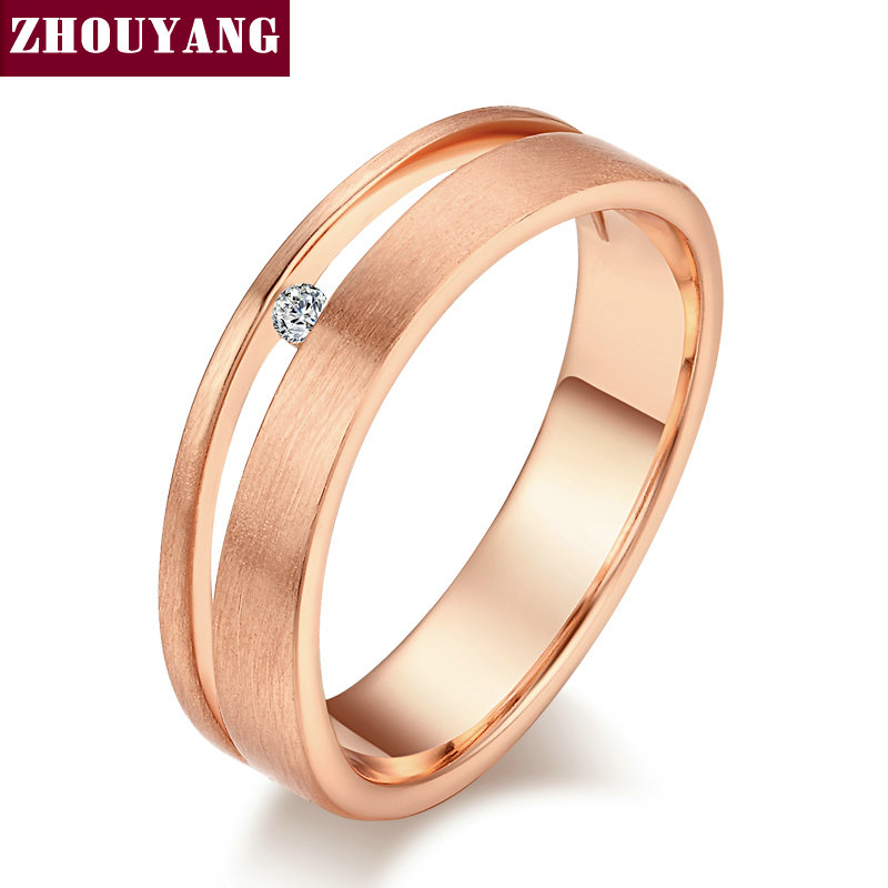 Top Quality Simple Wire Drawing Process 18K Gold Plated Lover's Ring Austrian Crystal Full Sizes Wholesale ZYR433 ZYR434(China (Mainland))