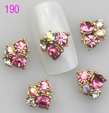 10pcs/lot X 3D Nail Art Alloy Decorations Beautiful Jewelry Rhinestones To Nails Art Tips Beauty Accessories ! 6 Choices ! (China (Mainland))