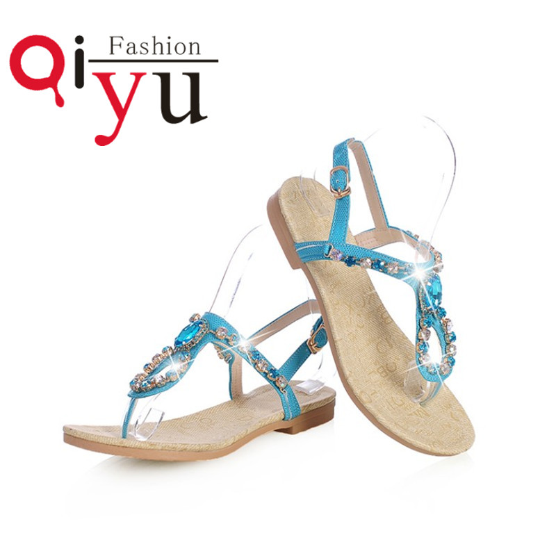 2016 T Strap Sandals Women Summer Fashion Brand Shoes Flat Sandals Casual Open Toe Flat Heel Womens Shoes Back Strap Size 34-39<br><br>Aliexpress