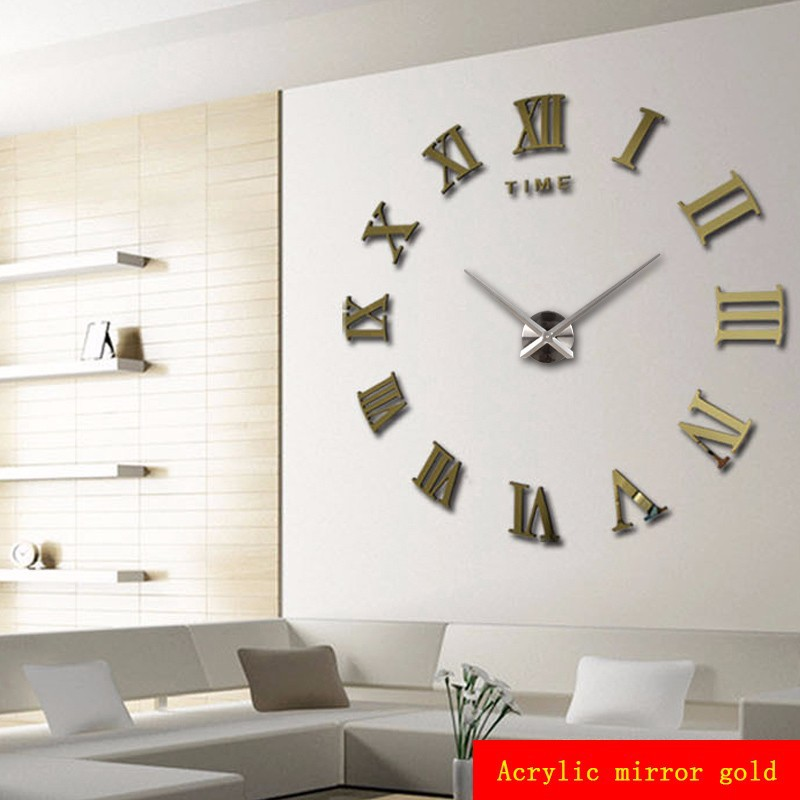 Luxury modern diy large wall clock 3d mirror surface - Wall picture clock decoration ...