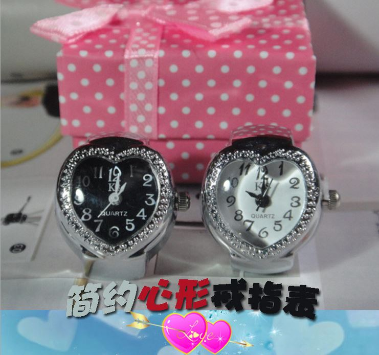 Couples edition Q version fine Heart-shaped ring watch electronic watch ring mix design(China (Mainland))