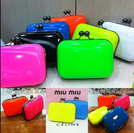 free shipping 2013 fashion candy color lady mini chain bags/ neon  women's handbag / shoulder clutch bag