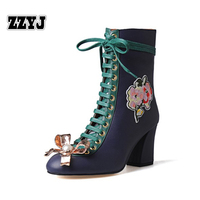 ZZYJ large size women's knight boots Europe ladies strap Lacing boots top fashion flowers beaded metal decorative Female shoes