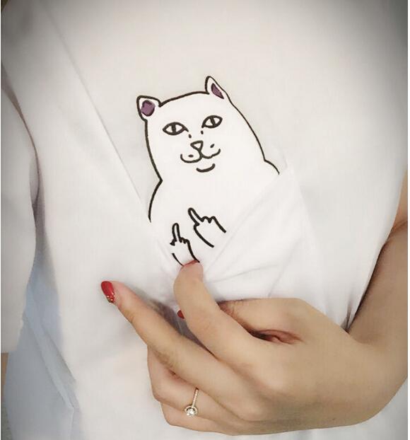 New Summer Hong Kong Fashion Pocket Harajuku cat Lovers Women Top Short-sleeve T shirt Cute Sweet Style Black/White(China (Mainland))