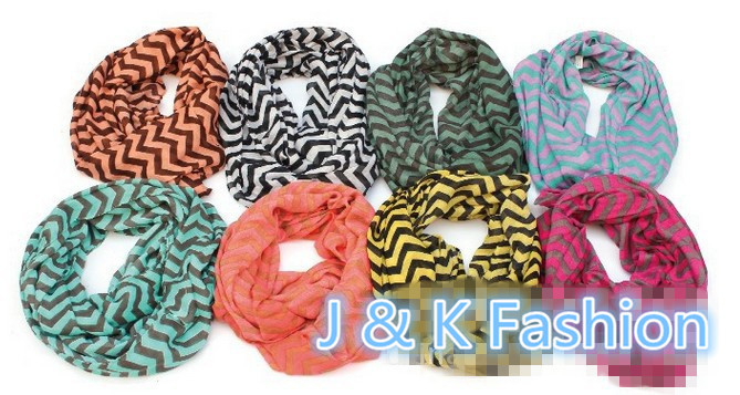 8 Colors Chevron Wave Zigzag Print Infinity Scarf Women Fashion Stripe Big Size Voile Circle Loop Scarves Snood Free Shipping(China (Mainland))