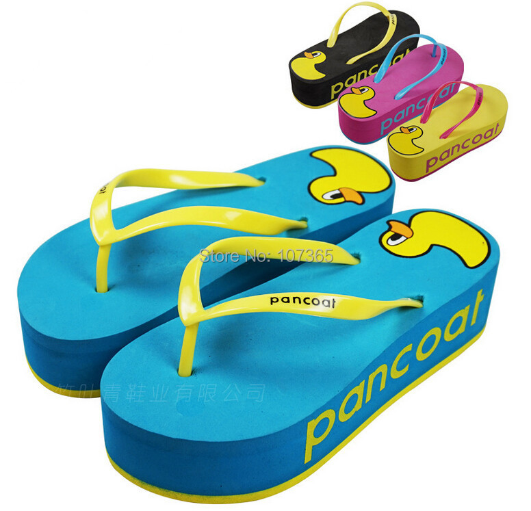 2015 Fashion summer cool bathroom high heel pantshoes slippers occupy home Rubber Duck antiskid cute flip-flops - MM's Club store