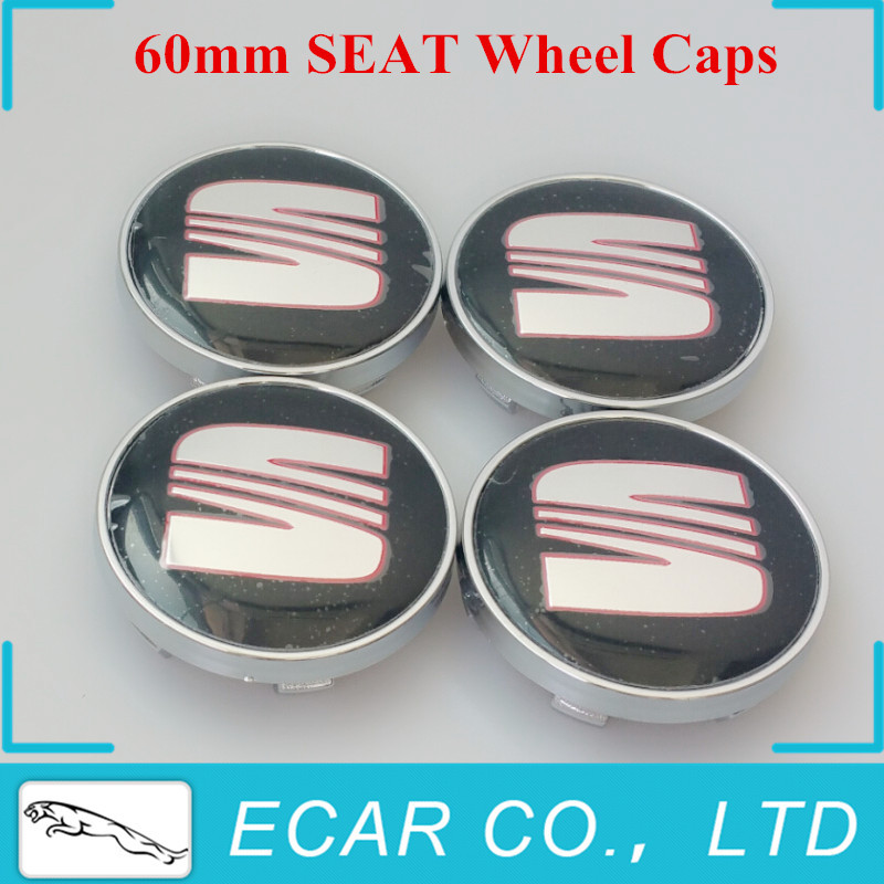 Car Styling 4 x 60mm SEAT Wheel Center Caps Emblem Badge Wheel Hub Caps Center Cover SEAT Ibiza Leon Alhambra Altea Exeo(China (Mainland))