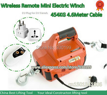 454kg Mini Electric winch hoist protable with wireless remote control and 4.6meter wire rope/Cable for lifting(China (Mainland))