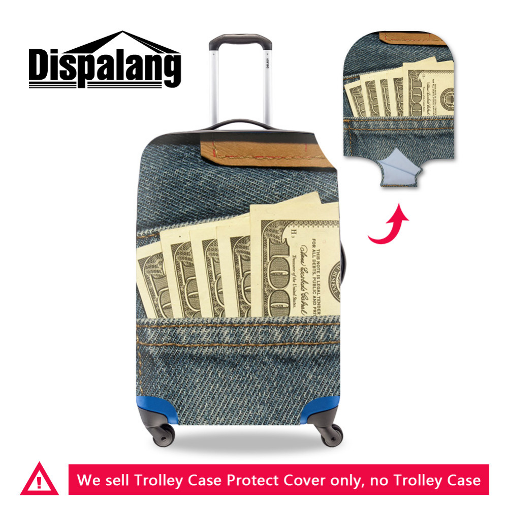 -9 Dispalang Denim Pattern Travel Luggage Protective Covers for 18-30 Inch Trolley Case Elastic Stretch Waterproof Suitcase Cover
