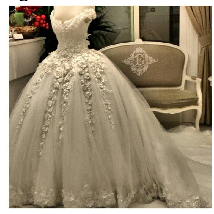 Real Image 2015 Pearls Lace Wedding Dress Beaded Ball