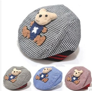 High quality hot sale ! 2016 new baby boy peaked cap classic bear doll grid hat casquette handsome boys caps(China (Mainland))