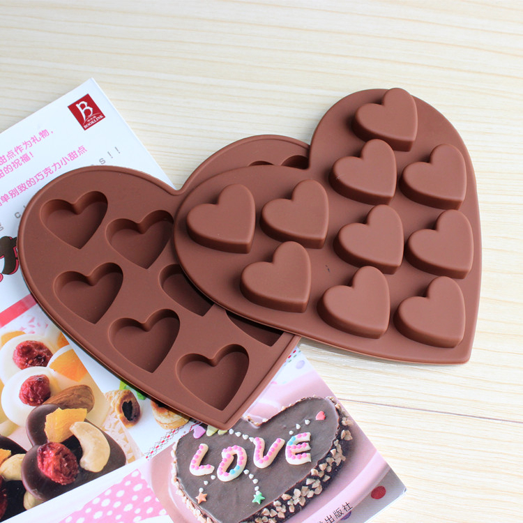 Lovely Heart Silicone Mold For Cakes ICE Chocolates 10 Holes Heart Shape Baking Mold Gift SC1502 Free Shipping(China (Mainland))