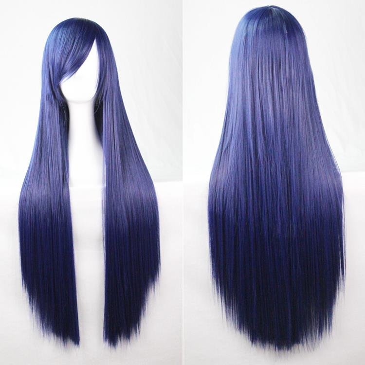 80Cm Harajuku Cosplay Anime Wigs Navy Colors Costume Party Long Full Straight Heat Resistant Synthetic Hair Wigs Peruca Perucas