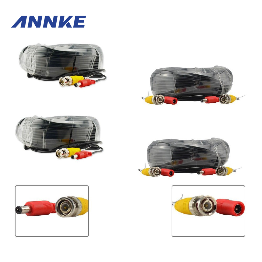 ANNKE 4PCS A Lot 30M 100ft CCTV Cable BNC + DC Plug Video Power Cable for Wire Camera and DVR Surveillance System Accessories(China (Mainland))