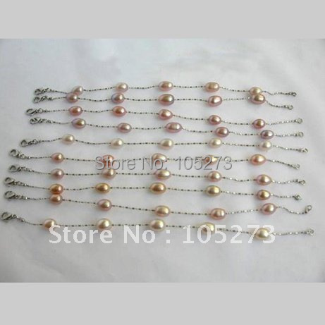 Wholesale 10piece AA 6-7MM Purple Freshwater Pearl Bracelet 18KGP Chain Fashion Pearl Jewelry Hot Sale New Free Shipping<br>
