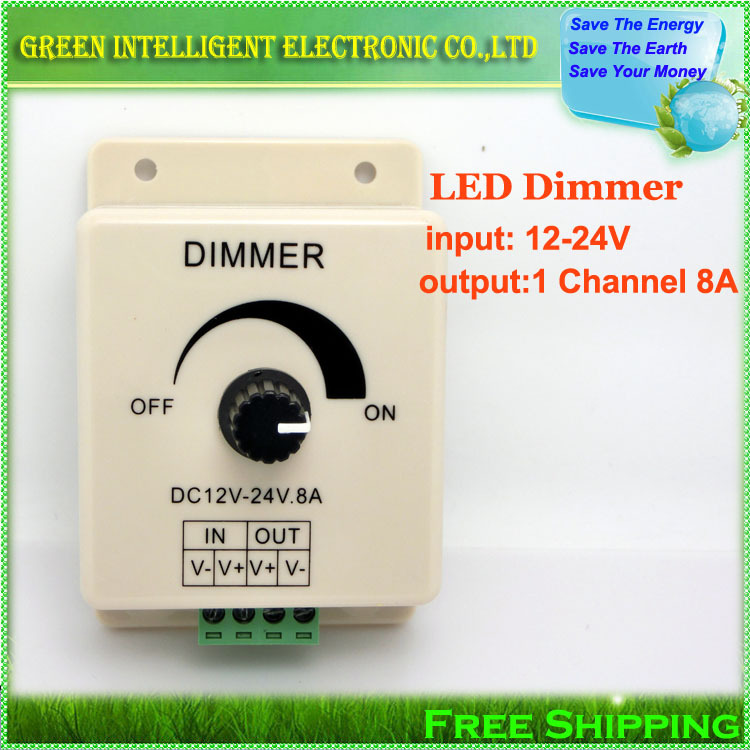 1pcs/lot,DC12V~24V 8A LED Switch Dimmer Controller,Manually Rotation LED Dimmer,Adjustable Brightness Controller for led strip<br><br>Aliexpress