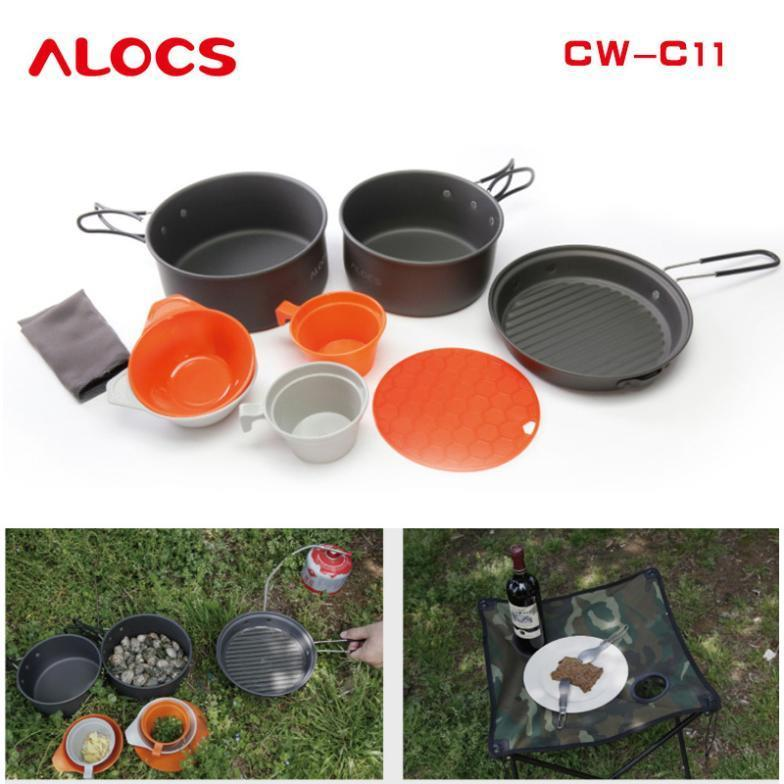 Alocs Brand Outdoor Camping Cooking Supplies Cookware Pot Set Cw C11 Fit For 2 3 People In
