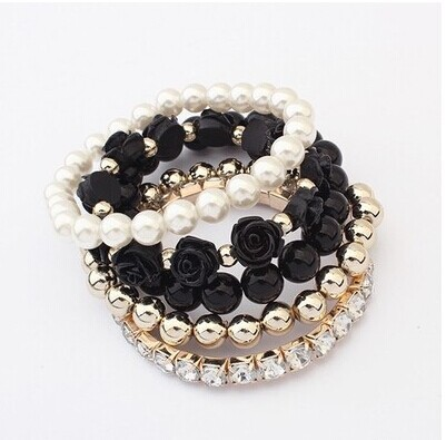 Min. order is 6usd(can mix order) New Coming Pearl Black Beads Rose Pendant Stretch Bracelets & Bangles(China (Mainland))