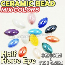 Ceramic Beads Horse Eye Pearls,Mix Colors 3x6 4x8 5x10 6x12 7x14mm,loose Pear marquise pearl for DIY Nail Art ,case phone(China (Mainland))