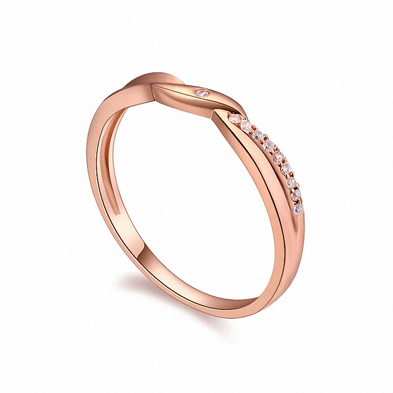 Real Austrian Crystals Brand 18K gold Plated AAA Zirconia Micro Inlays Fashion Ring for women New Geometric 108715Rose(China (Mainland))