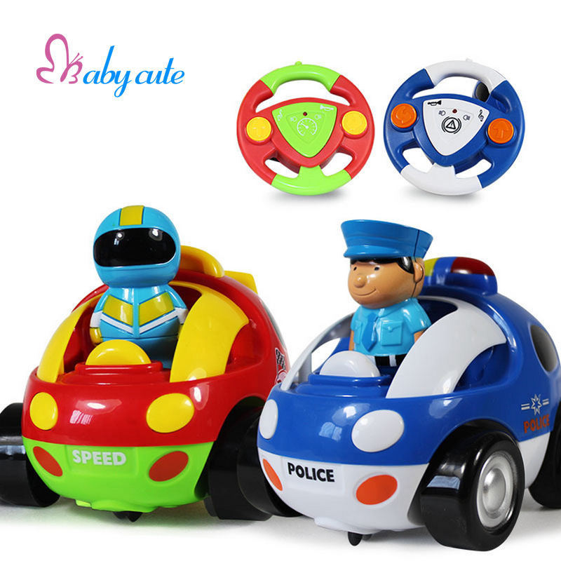 Remote Control Racing Car Toy Electric Simulation Vehicle Car Lihting Music Safety Material Cartoon Police Model Baby RC Toys(China (Mainland))