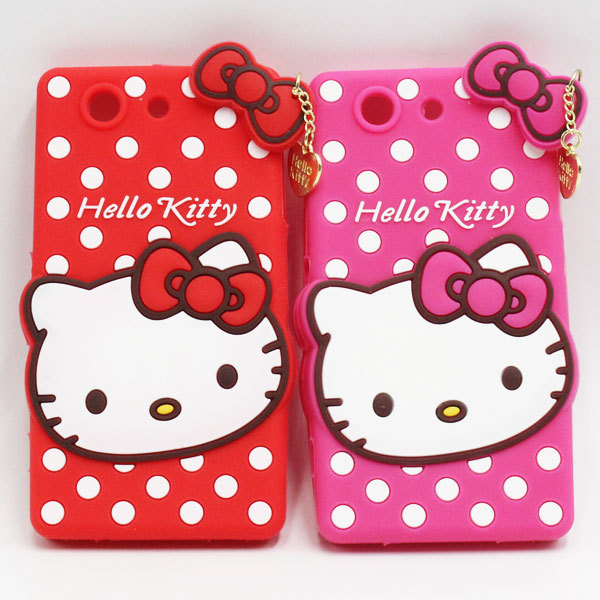 2015 Hot 3D Cute Cartoon Polka Dot Hello Kitty Cell Phone Silicone Cases For Sony Xperia Z2 Mini Compact Back Cover(China (Mainland))