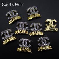 10pcs Glitter nail art brand logo gold 3d nail charms rhinestones for nails decoration AM283