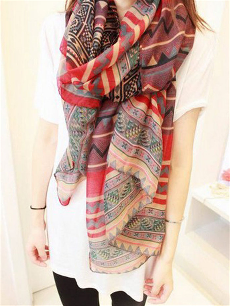 Stylish Korean style 175CM X 90CM National Wind Printing Scarf Shawls Long Paragraph Cotton Scarfs for women Red color(China (Mainland))