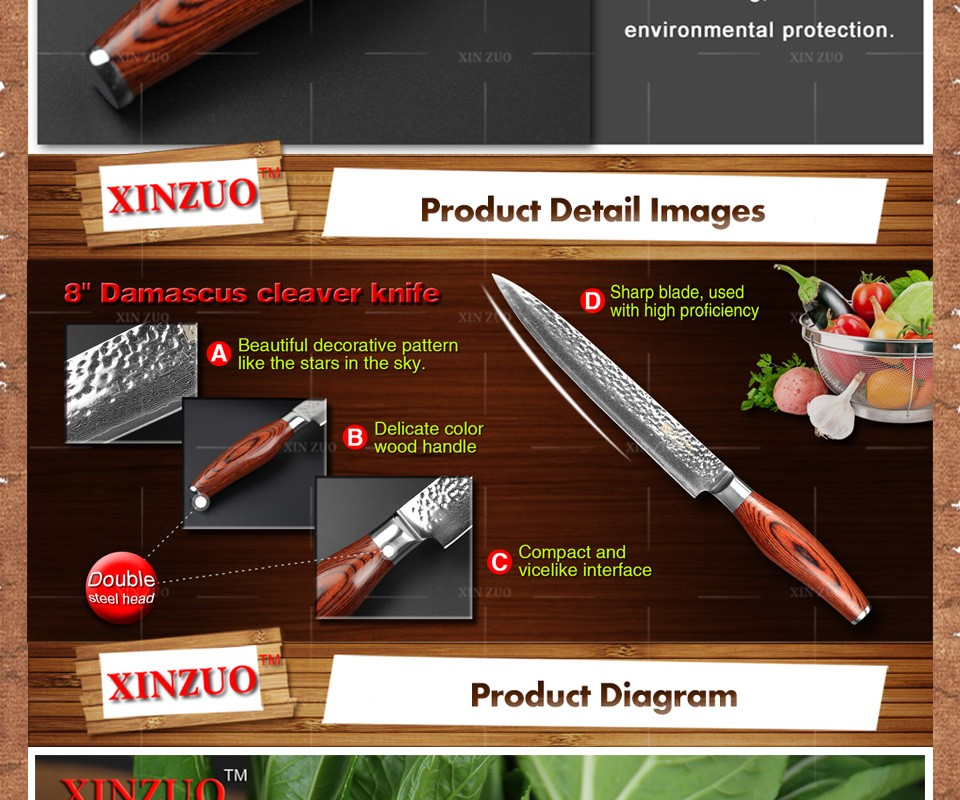 Buy 5 pcs kitchen knife set 73 layer Japanese VG10 Damascus steel kitchen knife cleaver chef utility knife wood handle free shipping cheap