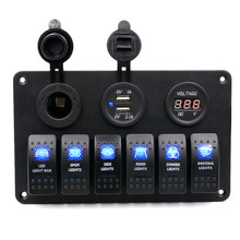 2016 New 12-24V 6 Gang Waterproof Car Auto Boat Marine LED Rocker Switch Panel Circuit Breaker Free Shippings Free Shipping(China (Mainland))