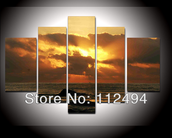 seascapes canvas oil painting 5panel wall decor landscaping paintings artwork painted frame FS/691 - YES store