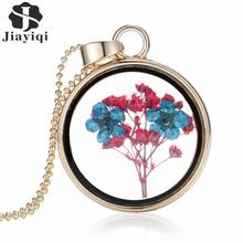 2015 Fashion Romantic Collares Dry Flowers Glass Long Chain Pendant Necklace Fine Jewelry For Women Accessories