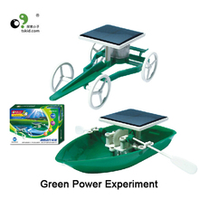 Solar energy into electric energy experiment Green Power Toy Solar boat and solar car D026(China (Mainland))