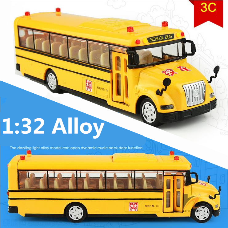 Hot sale 1:32 Alloy Pull Back school bus,flashing Diecast Metal model toys car,Live voice,free shipping(China (Mainland))