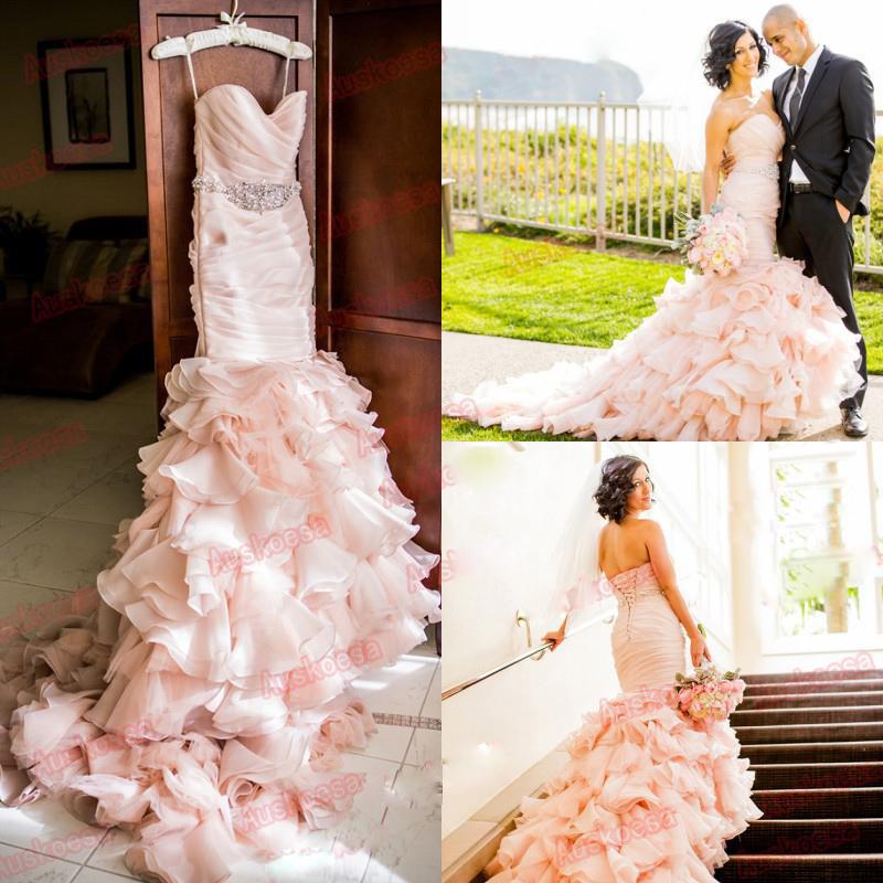 Blush Pink Wedding Dresses vestido de noiva renda High Low Wedding Dresses Lace Up Mermaid Tassel Tiered Bling Bridal Gowns(China (Mainland))