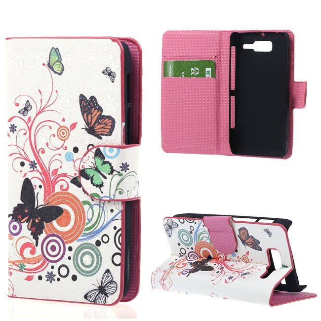 Flower PU Leather Flip Book Wallet Cover Case For Motorola Moto Razr D3 Stand Phone Case Shell 15 Colors(China (Mainland))
