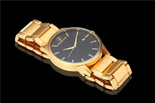 2015 new men stainless steel quartz wristwatches gold automatic calendar man watch blackcat dress watches