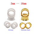 2Pair Stainless Steel Tragus Earring Ear Piercing Gold Ear skin Tunnels Plugs Silicone Cartilage Body Jewelry