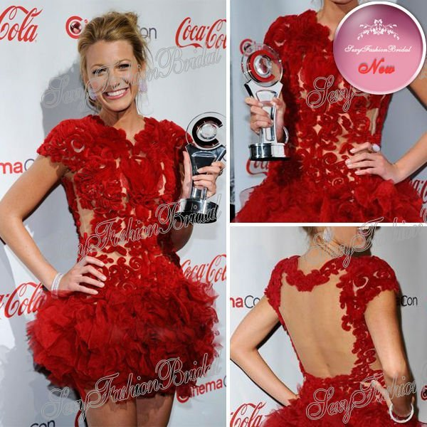 Blake Lively Red Lace Round Neck Pattern See Through Top Open Back Mini Short Celebrity Dresses