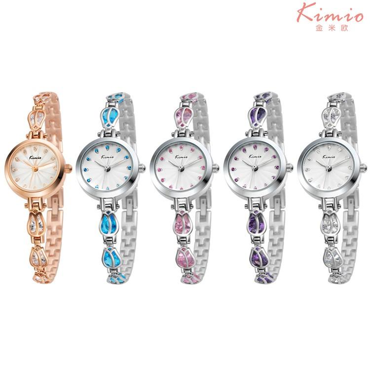 Кимио Модный бренд Женской Браслет Дамы Часы Класса Люкс Из Нержавеющей Стали Женщины Кристалл Часы Relojes Mujer Час K535S