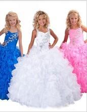 2015 première communion bleu blanc rose fleur fille robe mignon robe de bal Halter été filles Pageant robe pour les mariages parti robe(China (Mainland))