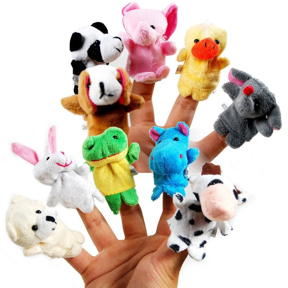 5pcs/set Cute Animal Finger Puppet Plush Toys Cartoon Biological Child Baby Favor Doll Kids Gifts Family Educational Finger Toy(China (Mainland))