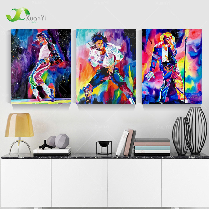 3 Panel Famous Star Michael Jackson Wall Art Picture Print Canvas Oil Painting by Numbers Unframed Home Decal(China (Mainland))