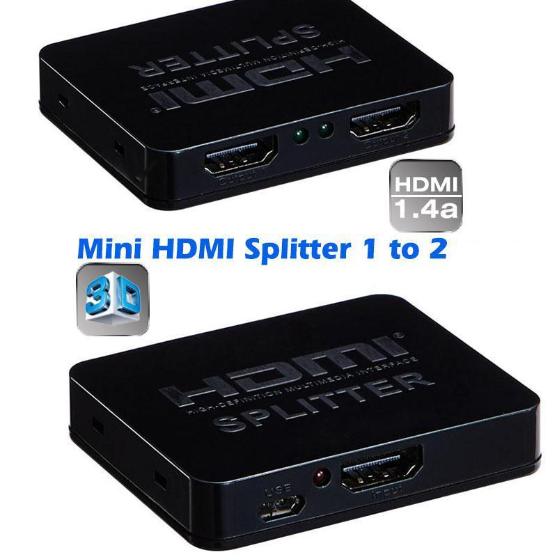 Mini 1080p 1x2 hdmi 1.4v splitter 1 to 2 HDMI Switch distributor Audio Converter support 3D TV DVD xbox 360 ps3(China (Mainland))