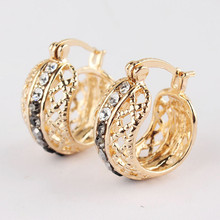 2015 Free Shipping Fashion Women New Gold Plated Earring Jewelry Gift /Party Hollow Out White Crystal Hoop Earrings Jewelry(China (Mainland))